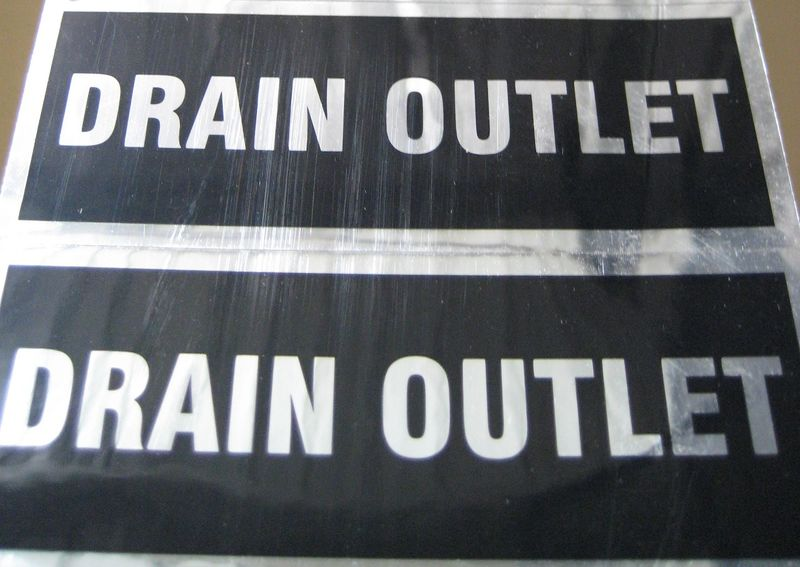 Drain Outlet Sticker