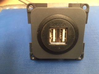 USB Outlet Double 2 x 2500MA 5V DC Slate Grey