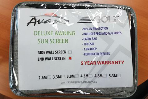 3.8m Sun Blocker - Suit 4m Awning - Front Wall
