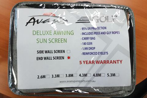 4.3m Sun Blocker - Suit 4.5m Awning - Front Wall