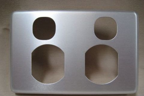 Double Power Point Cover Brushed Aluminium