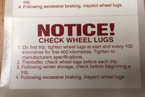 Notice: Check Wheel Lug Stickers