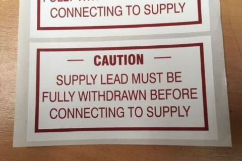 Caution: Supply Lead Sticker