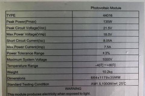 Solar Panel 135Watt